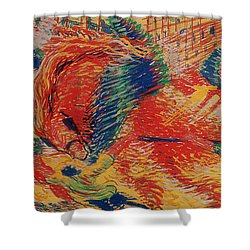 The City Rises Shower Curtain by Umberto Boccioni