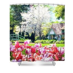 The Claude Monet Small House Shower Curtain by Tamyra Ayles