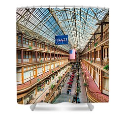 The Cleveland Arcade I Shower Curtain by Clarence Holmes