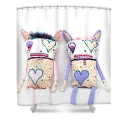 The Cutie Patootie Zombie Bunny Twins Shower Curtain by Oddball Art Co by Lizzy Love