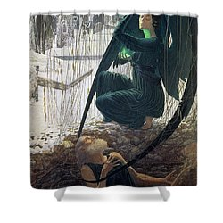 The Death And The Gravedigger Shower Curtain by Carlos Schwabe