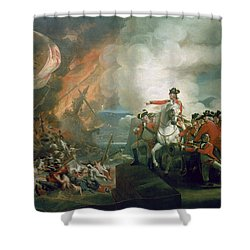 The Defeat Of The Floating Batteries At Gibraltar Shower Curtain by John Singleton Copley