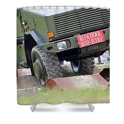 The Dingo 2 Mppv Of The Belgian Army Shower Curtain by Luc De Jaeger