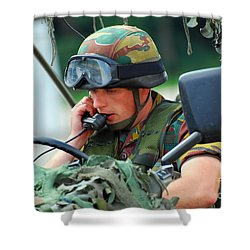 The Driver Of A Mortar Section Shower Curtain by Luc De Jaeger