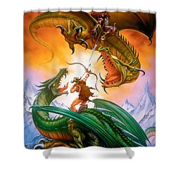 The Duel Shower Curtain by The Dragon Chronicles