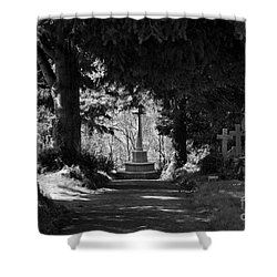 The End Shower Curtain by Brian Roscorla