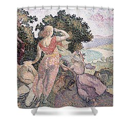 The Excursionists Shower Curtain by Henri-Edmond Cross