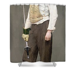 The Fencing Master Shower Curtain by Julius Gari Melchers