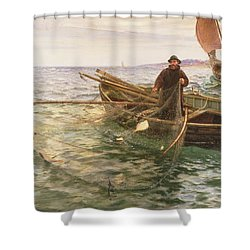 The Fisherman Shower Curtain by Charles Napier Hemy
