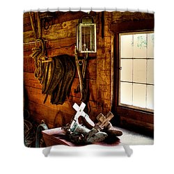 The Granary At Fort Nisqually Shower Curtain by David Patterson