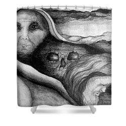 The Great Lie Shower Curtain by Rory Sagner
