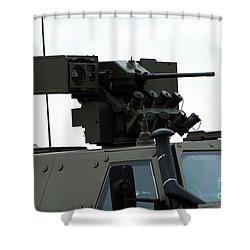 The Gun Mounted On Top Of The Dingo II Shower Curtain by Luc De Jaeger