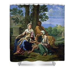 The Holy Family With Ss John Elizabeth And The Infant John The Baptist Shower Curtain by Nicolas Poussin