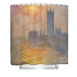 The Houses Of Parliament At Sunset Shower Curtain by Claude Monet