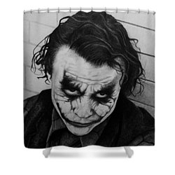 The Joker Shower Curtain by Carlos Velasquez Art