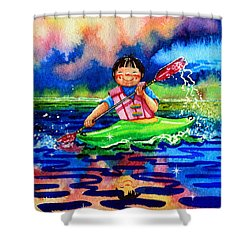The Kayak Racer 11 Shower Curtain by Hanne Lore Koehler