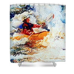 The Kayak Racer 19 Shower Curtain by Hanne Lore Koehler