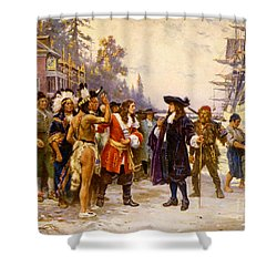 The Landing Of William Penn, 1682 Shower Curtain by Photo Researchers