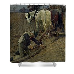 The Last Furrow Shower Curtain by Henry Herbert La Thangue
