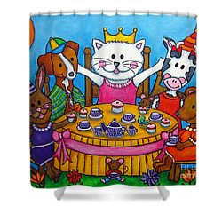 The Little Tea Party Shower Curtain by Lisa  Lorenz