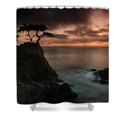 The Lone Cypress Observes A Pebble Beach Sunset Shower Curtain by Dave Storym