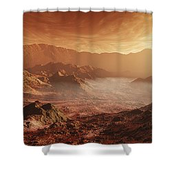 The Martian Sun Sets Over The High Shower Curtain by Steven Hobbs