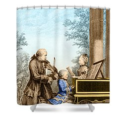 The Mozart Family On Tour 1763 Shower Curtain by Photo Researchers