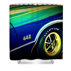 The Muscle Car Oldsmobile 442 Shower Curtain by Susanne Van Hulst