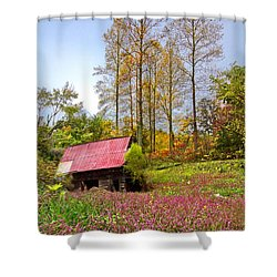 The Old Barn At Grandpas Farm Shower Curtain by Debra and Dave Vanderlaan