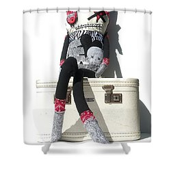 The Original Gangsta Zombie Blunt Force Angelo Shower Curtain by Oddball Art Co by Lizzy Love