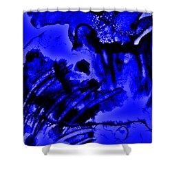 The Origins Of Blue Shower Curtain by Rory Sagner