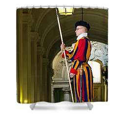 The Papal Swiss Guard Shower Curtain by Jon Berghoff