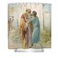 The Prodigal's Return Shower Curtain by Ambrose Dudley