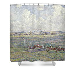 The Racecourse At Boulogne-sur-mer Shower Curtain by Theo van Rysselberghe