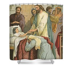 The Raising Of Jairus' Daughter Shower Curtain by English School