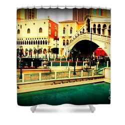 The Rialto Bridge Of Venice In Las Vegas Shower Curtain by Susanne Van Hulst