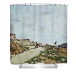 The Road To The Citadel At Villefranche Shower Curtain by Eugene Louis Boudin