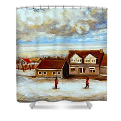 The Schoolhouse Winter Morning Quebec Rural Landscape Shower Curtain by Carole Spandau
