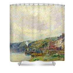The Seine At Croisset Shower Curtain by Albert Charles Lebourg