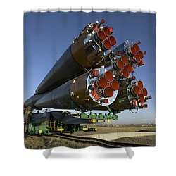 The Soyuz Rocket Is Rolled Shower Curtain by Stocktrek Images