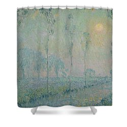 The Stream At Sunset Shower Curtain by  Henri Eugene Augustin Le Sidaner