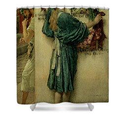 The Street Altar Shower Curtain by Sir Lawrence Alma-Tadema
