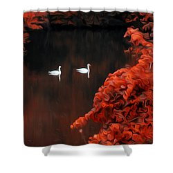 The Swan Pair Shower Curtain by Bill Cannon