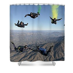 The U.s. Navy Parachute Demonstration Shower Curtain by Stocktrek Images