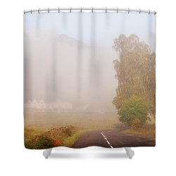 The Way To Never Never Land. Misty Roads Of Scotland Shower Curtain by Jenny Rainbow