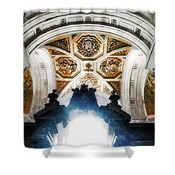 The West Doorway Of St Paul's Cathedral Shower Curtain by Steve Taylor