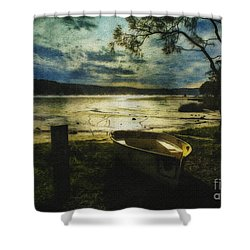 The Yellow Boat Shower Curtain by Avalon Fine Art Photography
