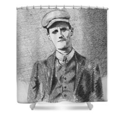 The Young James Joyce Shower Curtain by John  Nolan