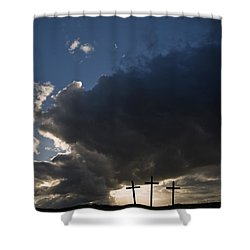 Three Crosses, West Yorkshire, England Shower Curtain by John Short