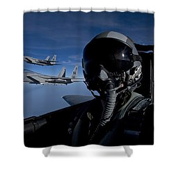 Three F-15 Eagles Fly High Shower Curtain by HIGH-G Productions